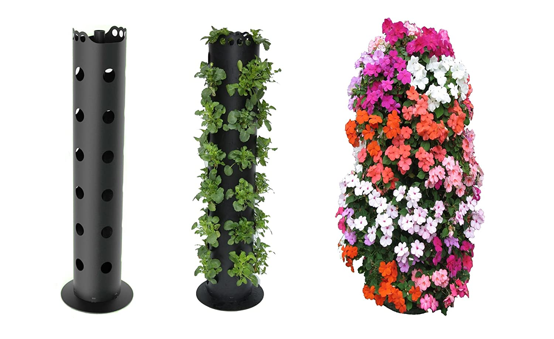 Vertical gardening strawberry planter herb tomato flower for Vertical garden tower
