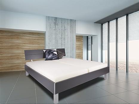 "Cuna ""Stuttgart"" 180 x 200 - cama doble - marco cuna - somier - matrimonial - madera maciza/MDF - antracita/gris - gusanos Germany - Adormio"