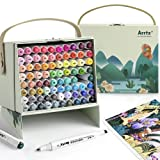 Arrtx ALP 80 Colors Alcohol Art Markers Set, Dual Tips Permanent Artist Alcohol-BasedPen Sketch Brush Markers with Designed Box, Ideal for Adult Kids Coloring, Sketching and Illustration, Card Making