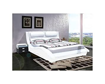 lit cuir cleveland cleveland 180cmx200cm blanc avec. Black Bedroom Furniture Sets. Home Design Ideas
