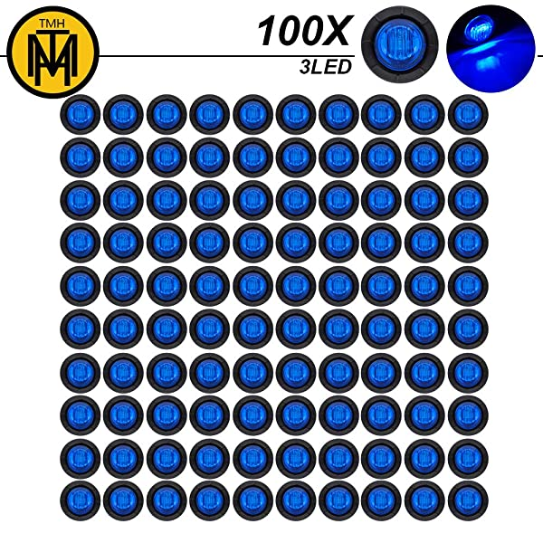 """3//4/"""" Mini Round Blue LED Side Indicator Marker Light Front Tail Waterproof with Grommets for Truck Trailer Pickup Lorry SUV Jeep Van Camper Caravan Universal 12V DC Surface Mount 3led Pack of 20 TMH"""