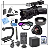 Sony NEX-VG30 Interchangeable Lens HD Handycam Camcorder With 18-200mm Lens + Interview/ Documentary Kit: Includes - Wireless Lapel & Handheld Microphone, Stabilizing Handle/Grip, High Definition Wide Angle Lens, HD Telephoto Lens, 3 Piece Filter Kit, Replacement Battery, Travel Charger, 16gb High Speed SDHC Memory Card, Lens Cleaning Pen, Starters Kit and CS Microfiber Cleaning Cloth