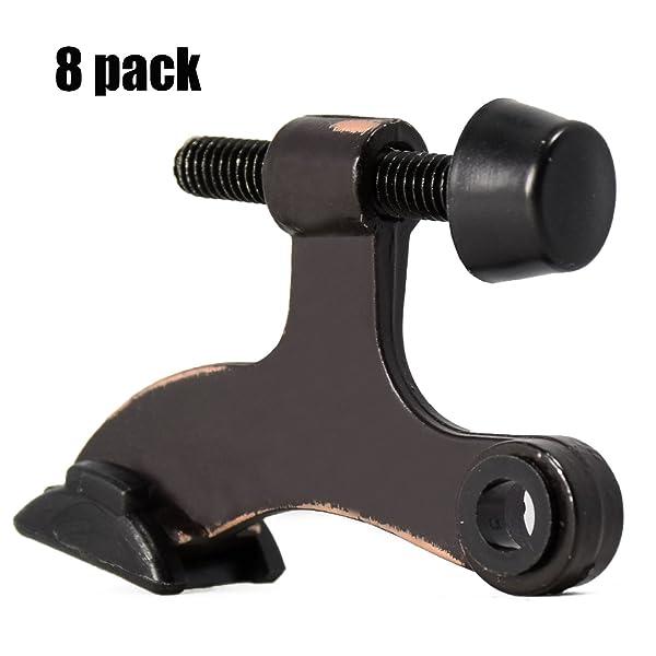 6 Pack Hinge Pin Door Stopper Black Adjustable Heavy Duty Hinge Pin Door Stop with Black Rubber Bumper Tips