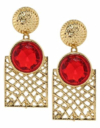 Bindhani Trendy Fancy Red Crystal Stone Fashion Ear rings For Girls