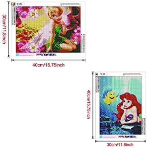 DIY 5D Diamond Painting Kit, 2 Pack 16X12 Disney Princess Tinker Bell Ariel Round Full Drill Crystal Rhinestone Embroidery Cross Stitch Arts Craft Canvas for Home Wall Decor Adults and Kids (Color: Disney Princess Tinker Bell Ariel, Tamaño: 16X12)