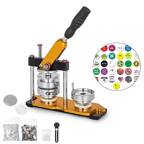 VEVOR Button Maker 3inch Rotate Button Maker Yellow 75mm 100sets Rotate Button Badge Maker Machine with 100 Sets Circle Button Parts for Friends DIY Gifts(100 Sets) (Tamaño: 75MM)