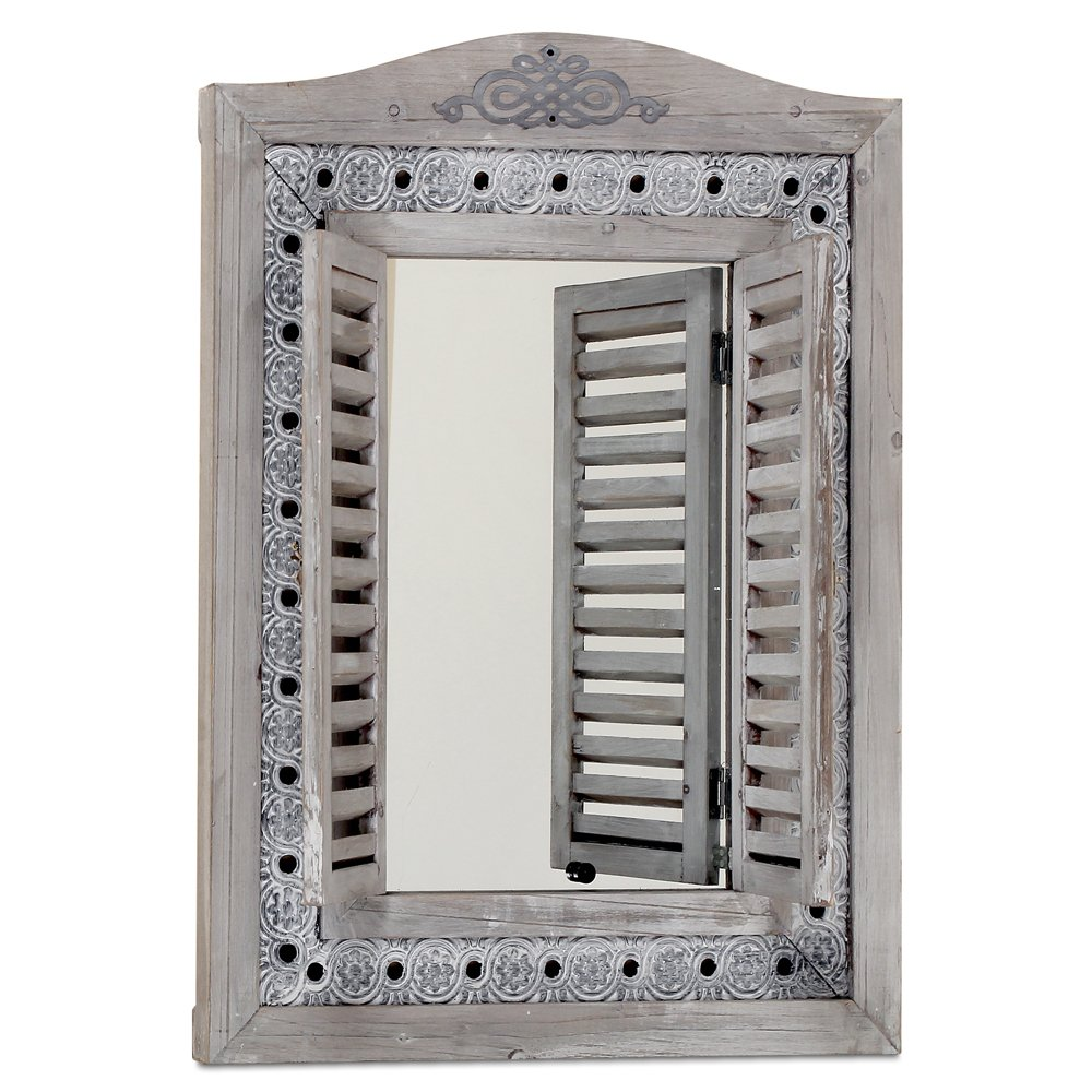 The Americana Rustic Farmhouse Mirror with Shutters, Vintage Gray, Distressed Metal Border of Braided Flowers, Sustainable Wood, Glass and Metal, 21 3/4 x 1 1/4 x 28 3/4 Inches, by Whole House Worlds 0