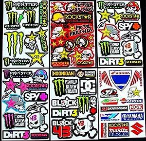 6 bogen Aufkleber Kii selbstklebend Stickers rockstar energy drink BMX moto-cross decals Abziehbilder MX