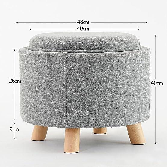 LINGZHIGAN Sgabello grigio multifunzione in legno massello in legno massello in legno Sgabello da scrivania in tessuto sgabello ( Colore : Wood color Wooden feet )