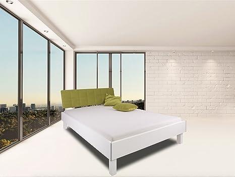 """'Cama """"London Soft Green en color blanco con verde acolchado Cabecero, 200x 200cm, estructura de cama, marco cama, cama doble, cama de matrimonio, madera maciza/mdf, fabricado en Alemania, adormio"""