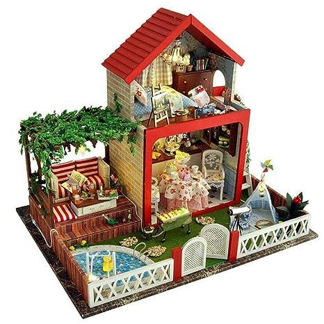 Maison De PoupéE Bricolage MontéE à La ModèLe De ModèLe Cadeau D'Anniversaire Jouets Pour Enfants Artisanat(Avec couvercle anti-poussière)