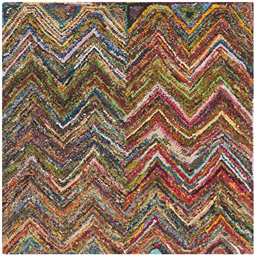 Safavieh Nantucket Collection NAN141B Handmade Multicolored Cotton Square Area Rug, 4 feet Square (4' Square)