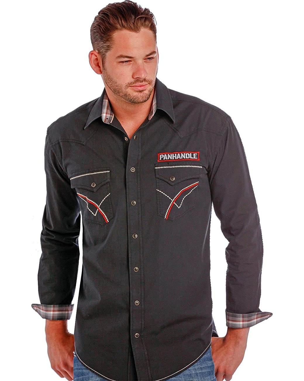 Panhandle Slim Men's Rough Stock By Vintage Bull Rider Logo Western Shirt - R0f9267-01 2