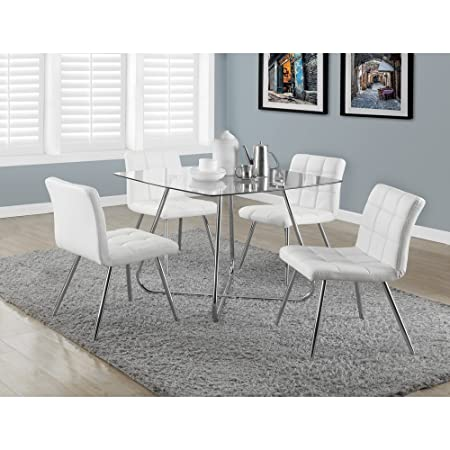 "WHITE LEATHER-LOOK / CHROME METAL 32""H DINING CHAIR/ 2PCS (SIZE: 19L X 23W X 32H)"