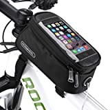 COTEetCI Bicycle Bike Frame Front Tube Beam Bag Transparent PVC Cycling Pannier Pouch Basket for Phone Screen Touch Holder -Black (Color: Type1, Tamaño: medium)
