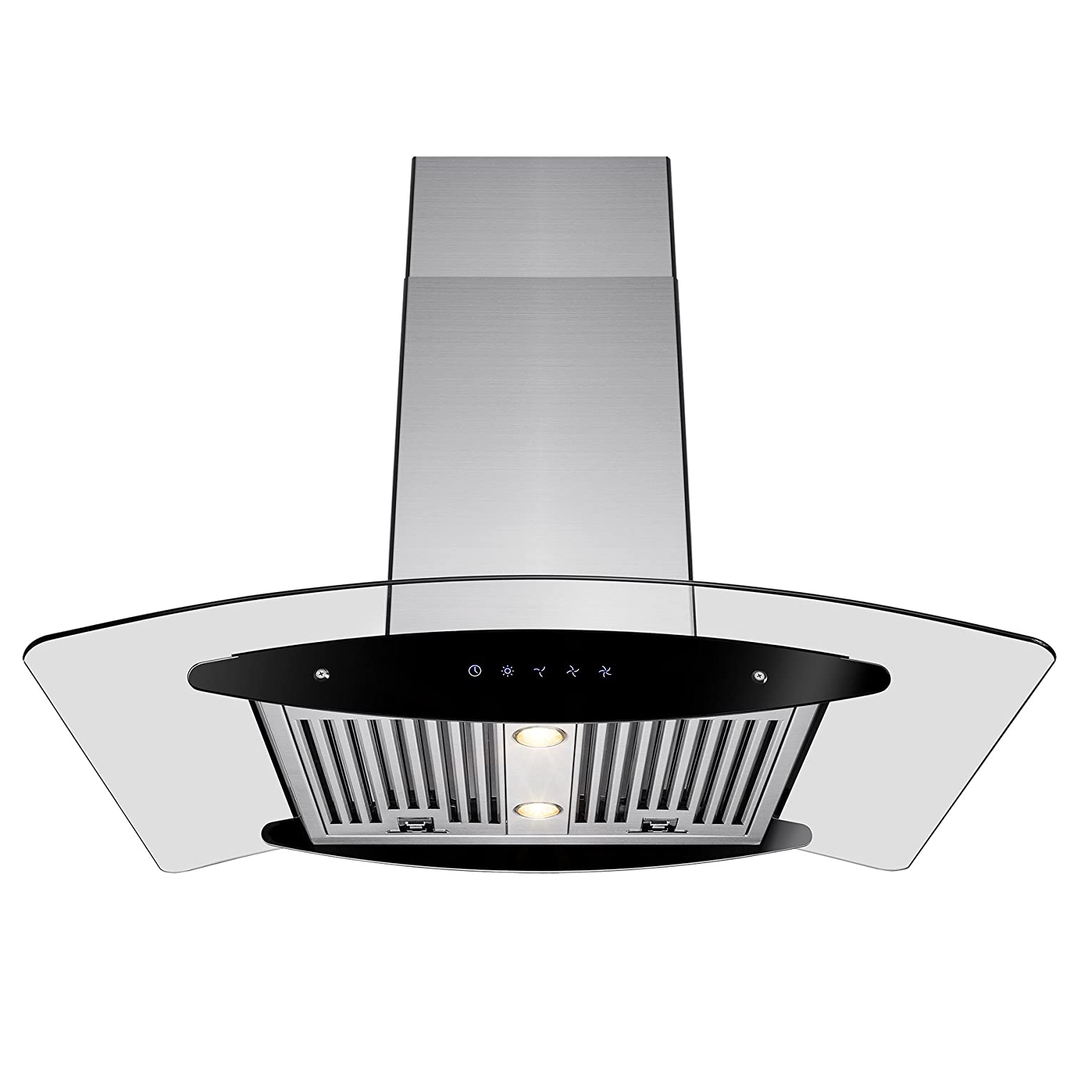 "AKDY® 36"" Stainless Steel Island Mount Dual Side LED Touch Screen Display Range Hood Kitchen Cooking Vent w/ Baffle Filters"