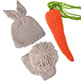 ISOCUTE Newborn Photography Props Rabbit Costume, Baby Photo Shoot Outfits (hat+Shorts+Carrot) (Color: Beige+carroty, Tamaño: 0-1M)