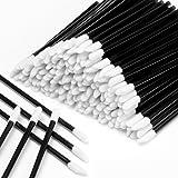 600pcs Disposable Lipstick Applicators Wands Makeup Applicators Brushes Lipgloss Applicators Tester Wands ECBASKET Disposable Lip Brushes Tool Kits Black (Color: black)