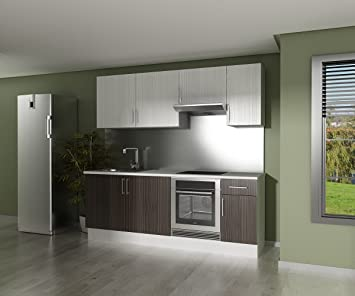 Finsa 959312 cocina en kit modelo one 220 cms en wengue for Muebles de cocina finsa