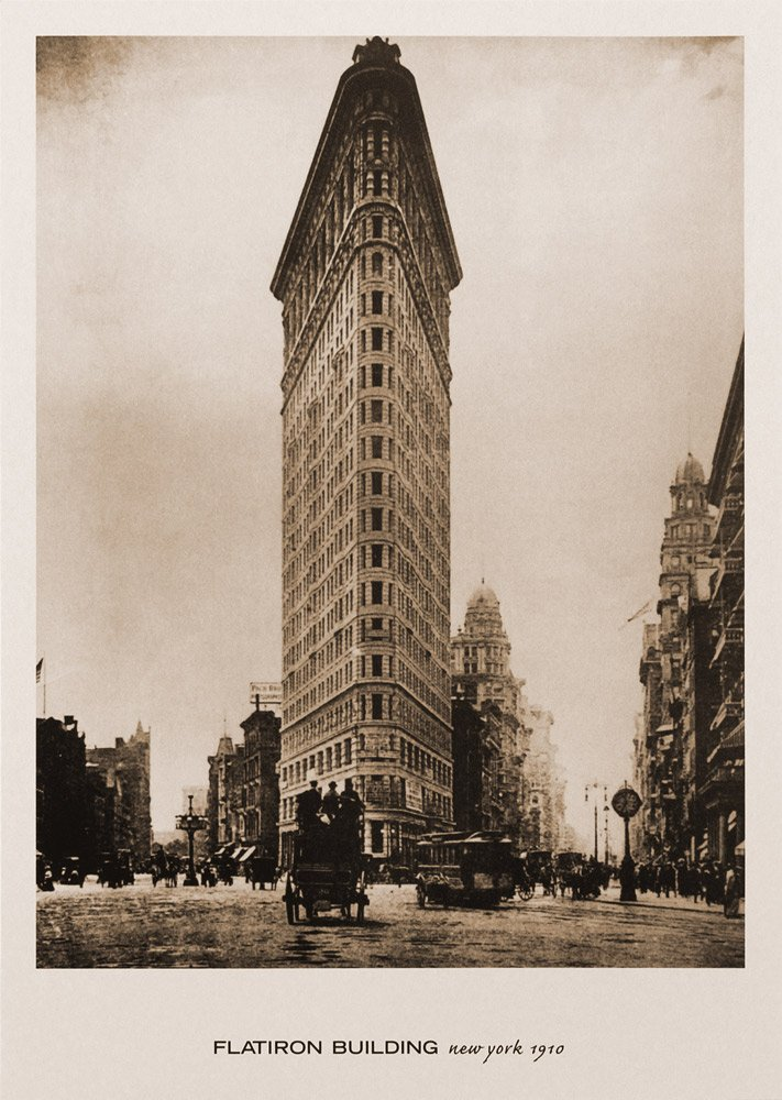 Amazon.com: Flatiron Building, New York, 1910. Black & White Sepia ...