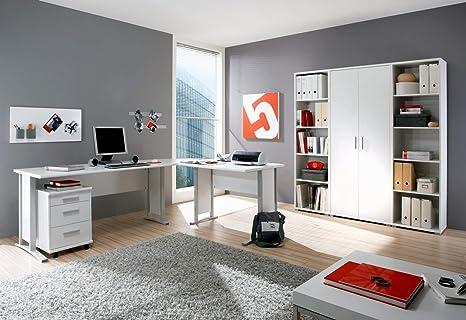 Buro komplett Arbeitszimmer komplette Buroeinrichtung 7-tlg in Weiß, Eckschreibtisch mit Kabeldurchlässen, 22mm starken Tischplatten, Gesamtarbeitsfläche 220 x 170 cm