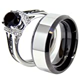 Lanyjewelry Matching Couple Ring Set Womens Oval CZ Light Black Two Tone Stainless Steel Bridal Ring Set Mens Two Tone Band - Size W5M9
