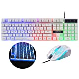 CHONCHOW Gaming Wired Backlit Keyboard and Mouse Combo Led Illuminated Letter 19 Anti-Ghost Keys White Opptical Mice for iMac Laptop Computer Smart TV