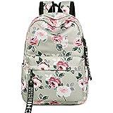 FLYMEI Lightweight School Bag Travel Daypack College Book Bags, Water Resistant 14Inch Laptop Bag for Teen Girls Women Kids (Color: Peony Grey)