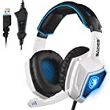 Newest SADES Spirit Wolf USB Over Ear Computer Gaming Headset with Mic, Vibration Effect, Noise Isolating Volume Control LED Light For PC Gamers (Black White) (Color: spiritwolf white)
