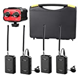 Saramonic Wireless VHF Lavalier Microphone Bundle with 2 Bodypack Transmitters, 2 Receivers, and 2-Ch Mixer for DSLR Cameras, Camcorders + More - 200' Wireless Transmission Range (Black/Red) (Color: Black/Red)