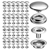 100pcs 15MM Stainless Steel Fastener Snap Press Stud Button for Marine Boat Canvas (4 Components, 25 for Each) (Color: Silver, Tamaño: Stud Cap size:15 mm)