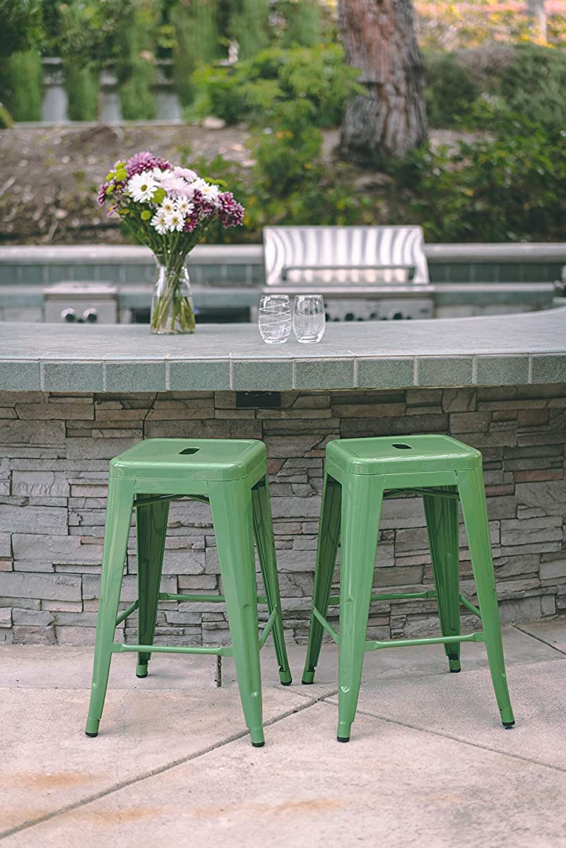 "Vogue Furniture Direct 24"" High Barstools Backless Green Metal Barstool Indoor-Oudoor Counter Height Stool with Square Seat, Set of 2 - VF1571020"
