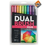 Tombow 56185 Dual Brush Pen Art Markers, Bright, 10-Pack. Blendable, Brush and Fine Tip Markers - 5 Pack (Color: 5 Pack (Bright))