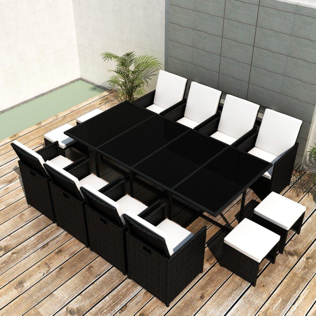 vidaXL Poly Rattan Gartenmöbel Essgruppe 1 Tisch + 8 Stühle 4 Hocker günstig