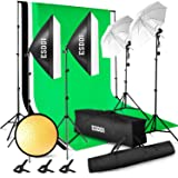 ESDDI Lighting Kit Adjustable Max Size 2.6Mx3M Background Support System 3 Color Backdrop Fabric Photo Studio Softbox Sets Continuous Umbrella Light Stand with Portable Bag (Color: Lighting Kit, Tamaño: Full Lighting Kit)