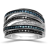 Jewelili Sterling Silver Black, Blue and White Diamond Stackable Ring, 3/4cttw , Size 7