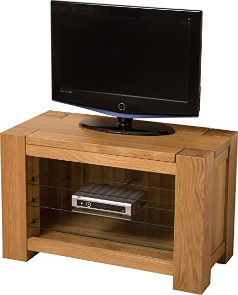 Hermosa Kensington Solid TV Unit with Clear Lacquer Finish, Natural Oak, Small, 90 x 45 x 56 cm