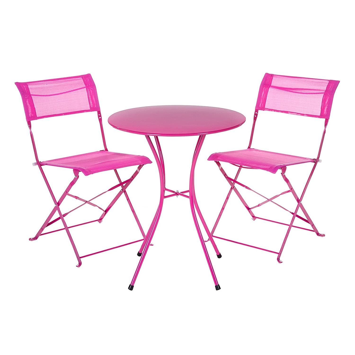 Garden table and chairs set metal bistro set for 2 folding for Metal patio table and chairs set