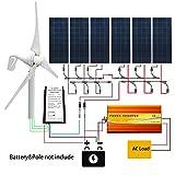 ECO LLC 400W Wind Turbine 6X 150W Solar Panel &1500W Inverter &20A Hybrid Controller (Tamaño: 1300W)