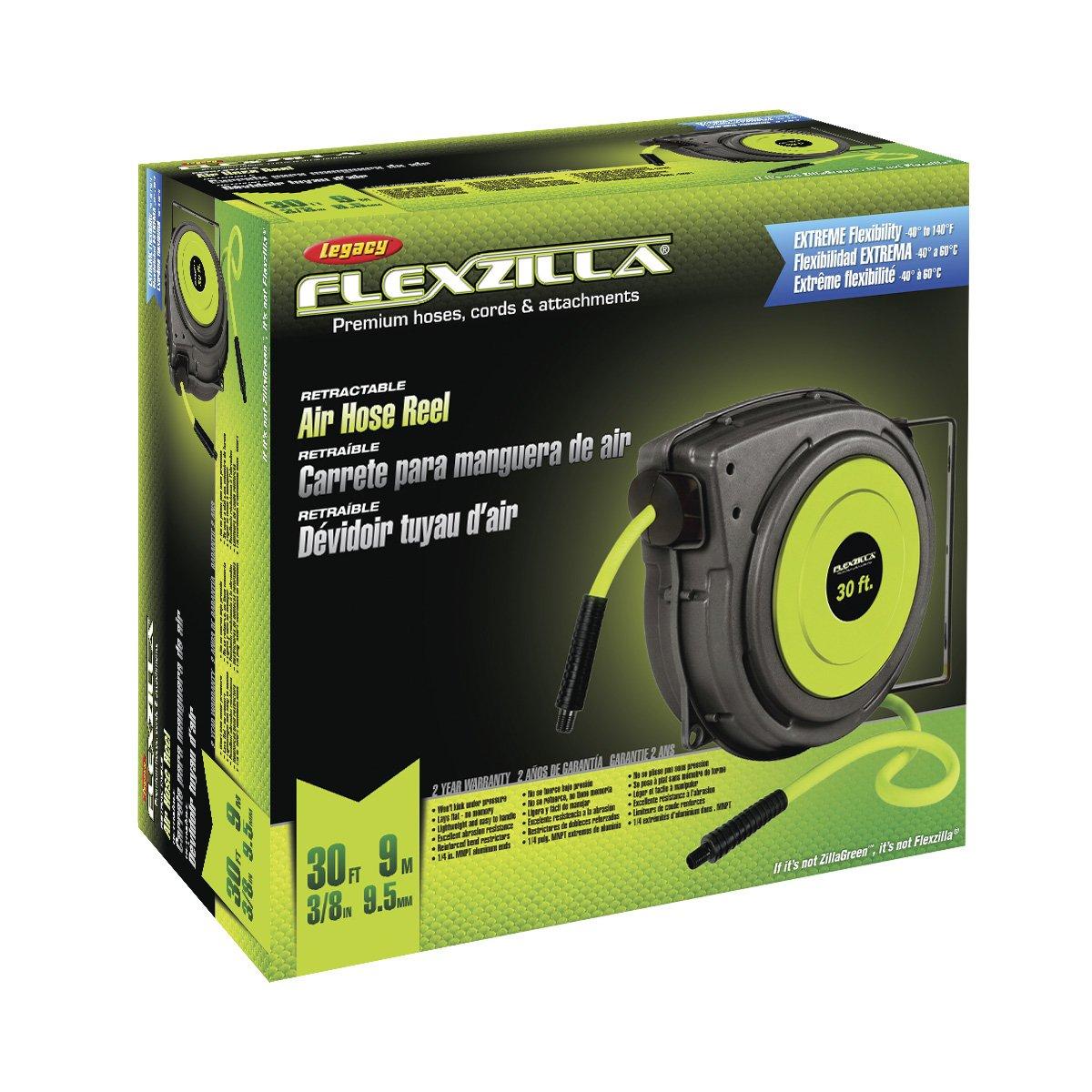Flexzilla Retractable Enclosed Plastic Air Hose Reel, 3/8 in. x 30 ft., Heavy Duty, Lightweight, Hybrid, ZillaGreen - L8230FZ