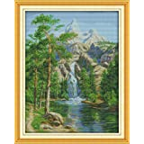 Happy Forever Cross Stitch Kits 11CT Stamped Patterns for Kids and Adults, Preprinted Embroidery kit for Beginner, Scenery View and Landscape (F783 high Mountain and Flowing Water 2, Size 18''x22'') (Color: F783 High Mountain and Flowing Water 2, Size 18''x22'')