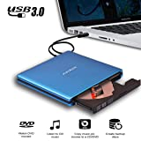 JOKDEER USB 3.0 External DVD-RW Drive Burner All-aluminum Ultra Slim Portable DVD Rewriter Burner CD/DVD-RW Writer Burner for Laptop and Desktop PC Windows and Linux OS Apple Mac Macbook Pro (Blue) (Color: Blue)