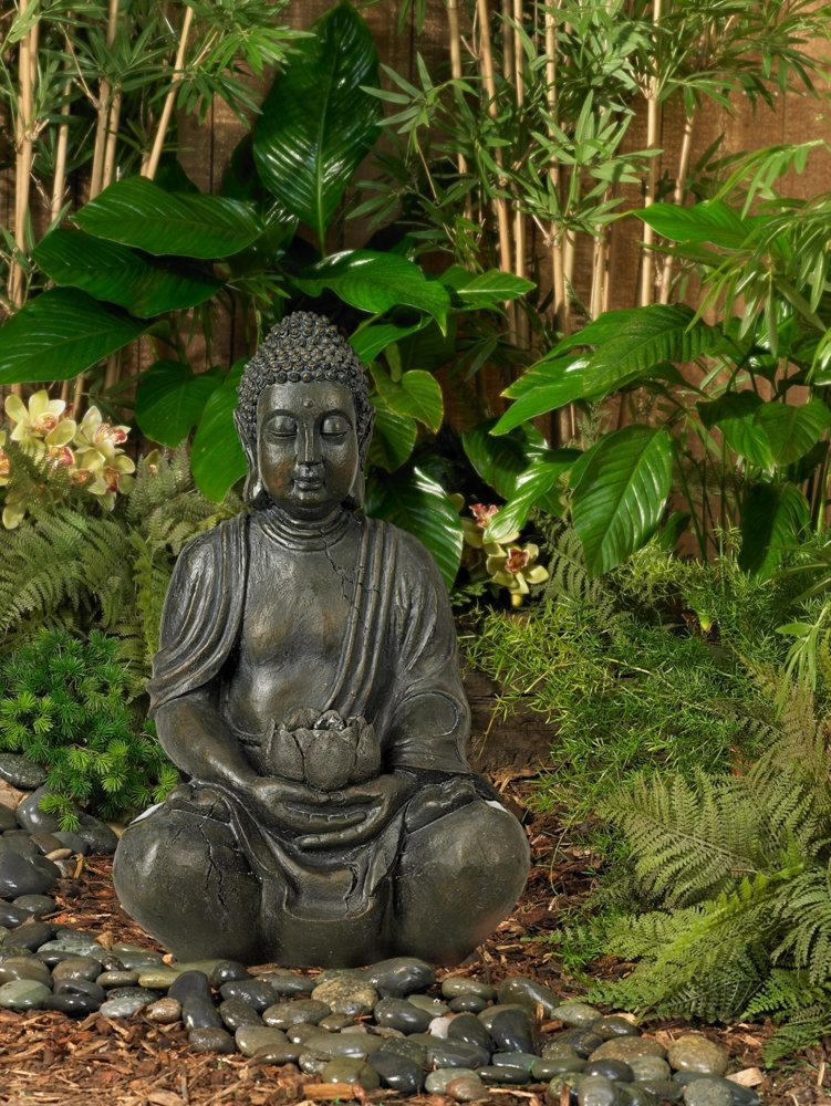 "Sitting Buddha 19 1/2"" High Sculpture with Solar Powered LED"