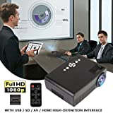 Hanbaili (US Plug)3000 Lumens LCD Mini Projector, Multimedia Home Theater Video Projector Support 1080P HDMI USB SD Card VGA AV Home Cinema TV Laptop Game iPhone Android Smartphone with HDMI Cable (Tamaño: US Plug)
