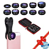 Phone Lens-10 in 1 Camera Lens Kits Included 198° Fisheye Lens 0.63X Wide Angle Lens 15X Macro Lens 2X Telephone Lens CPL Flow Radial Star Filter Kaleidoscope Lens for Most Smartphone Tablets     (Color: 10 in 1 phone lens kit, Tamaño: 4.33''x4.33''x1.97'')