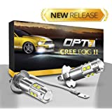 OPT7 H3 CREE XLamp LED DRL Fog Light Bulbs - 5000K Bright White @ 700 Lm per bulb - All Bulb Sizes and Colors - 1 year Warranty (Pack of 2)