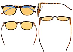 Slim Vintage Computer Readers Reading Glasses Anti Eyestrain Lens for Digital Screens, UV400 Protection - 0.00x in Tortoise (Color: Tortoise, Tamaño: without strength)
