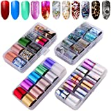 40 Rolls Nail Art Foil Adhesive Transfer Sticker Tips, Tingbeauty Nail Art Stickers Tips Wraps Foil Transfer Adhesive Glitters Acrylic DIY Decoration Kit(4 Boxes) (Color: B)