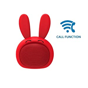 AEO AEO-AU-M815-RED Mini Bluetooth Speaker Wireless Portable Cute Bunny with Squishy Ears, Candy Red (Color: Candy red)