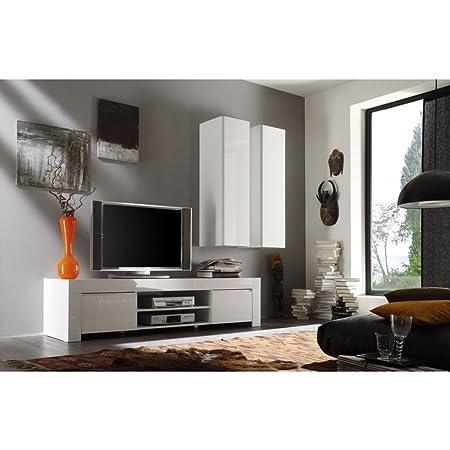 agree lc-gloss Bianco Armadietto TV con 2scomparti 2ante, Amalfi, 190cm